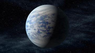 Künstlerische Darstellung des vermutlich von Ozeanen bedeckten Exoplaneten Kepler-69c.Quelle: NASA/Ames/JPL-Caltech (idw)