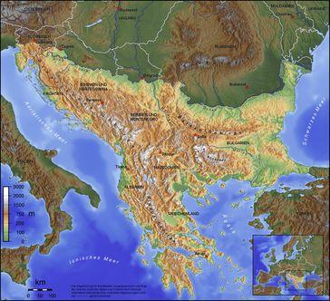 Topografische Karte des Balkans