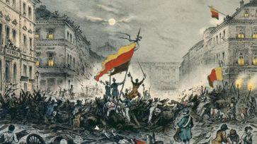 Jubelnde Revolutionäre nach Barrikadenkämpfen am 18. März 1848 in der Breiten Straße in Berlin