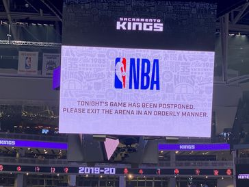 Announcement of the Sacramento Kings game postponement on March 11, 2020