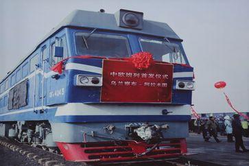 """Ein Güterzug, der Ulanqab, die Autonome Region Innere Mongolei in Nordchina, mit Kasachstan verbindet, wurde am 20. November 2016 in Betrieb genommen. /  Bild: """"obs/Xinhua Silk Road Information Service"""""""