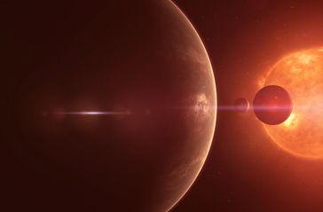 """In der Umlaufbahn von Trappist-1 befinden sich sieben Planeten. Bild: """"obs/ZDFinfo/Andrew Fleming"""""""