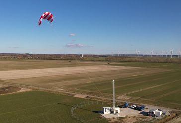 """SkySails Power Flugwindkraftanlage in Betrieb.  Bild: """"obs/SkySails Power GmbH/SkySails Group"""""""