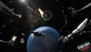 Weltraumschlacht mit verschiendenen Raumschiffmodellen. Bild: TopWare Interactive