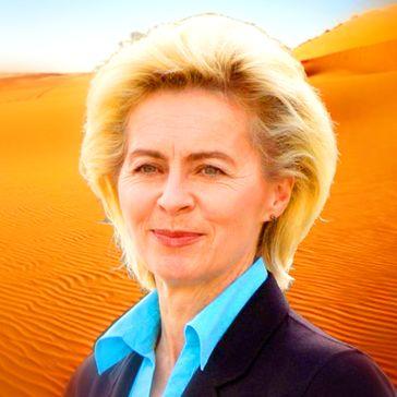 Ursula von der Leyen (2019) vor einer möglicherweise zukünftigen CO2-freien EU-Landschaft (Symbolbild)