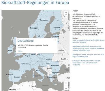 """Biokraftstoff-Regelungen in 30 europäischen Ländern - interaktive Karte (https://www.bdbe.de/daten/bioethanol-weltweit) / Bild: """"obs/Bundesverband der deutschen Bioethanolwirtschaft e. V./BDBe"""""""