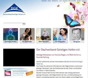 """Screenshot von der Webseite: """"Dachverband Geistiges Heilen"""""""
