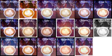 Eine Fotocollage eines Bildes, das mit 16 verschiedenen Instagram-Filtern bearbeitet wurde.