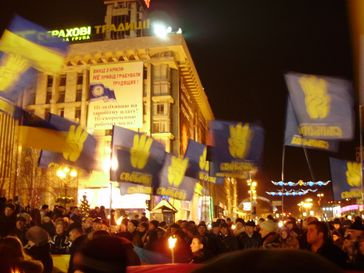 Demonstrationszug zu Ehren des nationalistischen Politikers Stepan Bandera am 1. Januar 2009