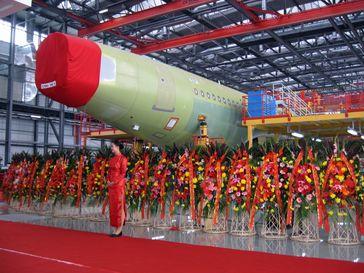 Airbus Endmontagelinie der A320-Familie in Tianjin (Aufnahme: 2008)
