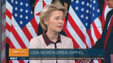 """Bundesverteidigungsministerin Ursula von der Leyen am 27.02.2019 im Fernsehsender WELT. Bild: """"obs/WELT/WeltN24 GmbH"""""""