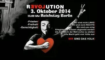 Ein Banner einer weiteren Organisation, die zur Demonstration aufruft.