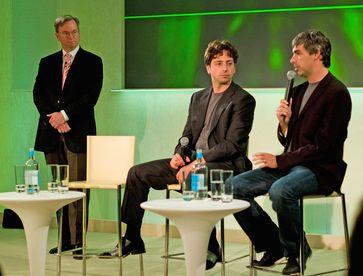Eric Schmidt, Sergey Brin und Larry Page (von links nach rechts, 2008)