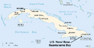 Lage des Stützpunktes in der Guantánamo-Bucht