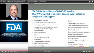 Dokumentation zu erwartender Nebenwirkungen der sogenannten Corona-Impfungen während einer Expertenkonferenz der US-amerikanischen Zulassungsbehörde (FDA) am 22. Oktober 2020