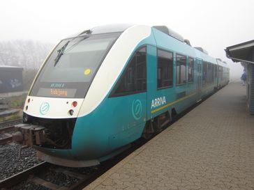 Ein LINT Triebwagen von Arriva in Dänemark.