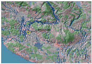 REKLIBO Band 3, Abb. 50: Bergwindsystem, intensiver Kaltluftstrom