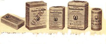 """Historische Verpackungen von Luvos-Heilerde / Bild: """"obs/Heilerde-Gesellschaft Luvos Just GmbH & Co. KG"""""""