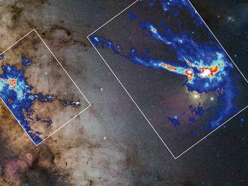 Zwei der von Kainulainen und Kollegen untersuchten Molekülwolken: Der Pfeifennebel (links) und die R Quelle: Bild: Hintergrund: ESO/S. Guisard (www.eso.org/~sguisard) Dichtekarten: J. Kainulainen, MPIA (idw)