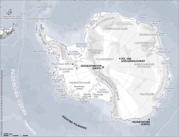 Karte der Antarktis mit dem Südpol