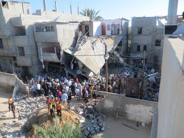 Getroffenes Haus im Gaza-Streifen