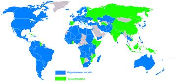 Mitgliedsstaaten der IOM und Staaten mit Beobachterstatus.