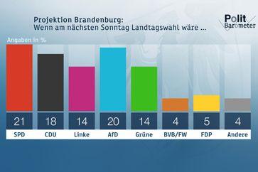 """Projektion Brandenburg: Wenn am nächsten Sonntag wirklich Landtagswahl wäre ... Bild: """"obs/ZDF/Forschungsgruppe Wahlen"""""""