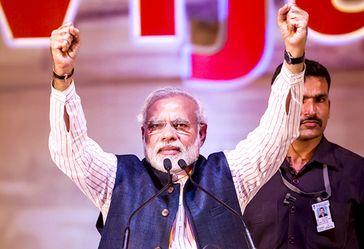 Gujarat Narendra Modi auf einer Wahlkampfveranstaltung in Goa bei der indischen Parlamentswahl 2014