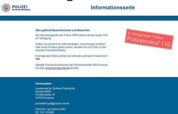 Aktuelles Bild von der abgeschalteten Webseite der Polizei NRW