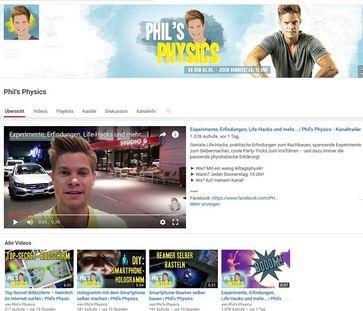 """Bild: Screenshot Youtube Kanal """"Phil's Physics"""""""