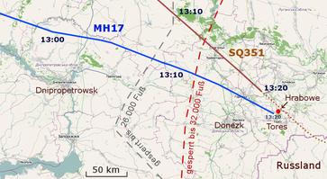 Flugverlauf von MH17 und SQ351 um 12:55–13:27 UTC mit Luftraum-Sperrzonen