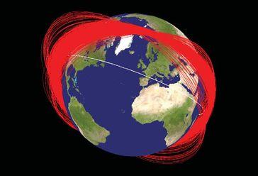 """Bei einem Raketentest am 11. Januar 2007 wurde der chinesische Wettersatellit Fengyun-1C (""""Wind und Wolken""""), der seine Lebensdauer überschritten hatte, vom Boden aus in rund 850 Kilometern Höhe mit einer ballistischen ASAT-(Antisatelliten-)Rakete zerstört.   Weltraummüll durch den Abschuss von Fengyun-1C."""