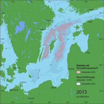 Abb. 1: Zentrale Ostsee im November 2013 – Situation vor dem Salzwassereinbruch. Quelle: (IOW) (idw)