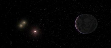 22 Lichtjahre von der Erde entfernt: Sternsystem mit zwei Zwergsternen der Klasse K (links) und einem Zwergstern der Klasse M (Mitte). Rechts am Bildrand die nun entdeckte Super-Erde GJ667Cc, die den mittleren Zwergstern umkreist. Quelle: Foto: Universität Göttingen (idw)