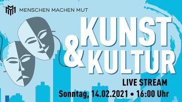 """Bild: SS Video: """"Kunst & Kultur – Livestream 14.02.21 Menschen Machen Mut"""" (https://tube.kenfm.de/videos/watch/a6e6cbd8-b8ae-4494-b3b7-4ad89a64fc88) / Eigenes Werk"""