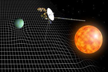 Massen (etwa Sterne und Planeten) krümmen die Raumzeit. Bild: Florian Aigner, TU Wien