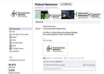 Screenshoot der Polizei Hannover Facebookseite