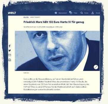 Friedrich Merz: Er hielt 2008 bereits Hartz IV für zu hoch und forderte maximal 132 Euro pro Monat (Archivbild)