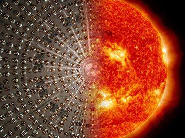 Die Bildkombo zeigt den Borexino-Detektor und die Sonne. (Verwendung des Bildes nur in Zusammenhang Quelle: Borexino Collaboration (idw)