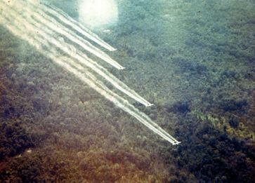 """Vier US-amerikanische Transportflugzeuge des Typs Fairchild C-123 – zu Sprühflugzeugen umgebaut – während der """"Operation Ranch Hand"""" in Vietnam"""