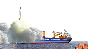 """Künstlerische Darstellung der geplanten Plattform für Raketenstarts in der Nordsee. Bild: """"obs/OHB SE/Wolf Soujon"""""""
