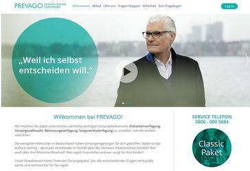 Screenshot der Webseite www.prevago.de/