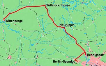Karte der Linienführung des Prignitz-Expresses. Bild: Knut Rosenthal - wikipedia.org
