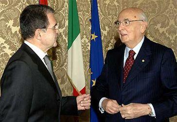 Romano Prodi (re) und Giorgio Napolitano (2016)