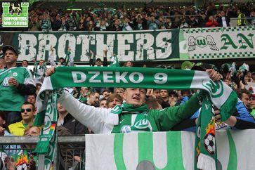 VfL Wolfsburg Fans in Aktion (Symbolbild)