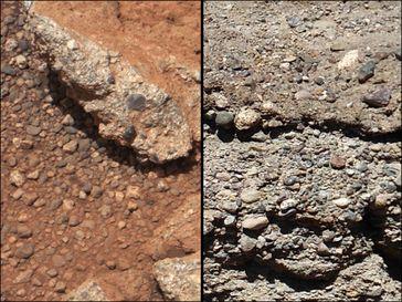 Vergleich eines Flussbetts auf dem Mars (links) und auf der Erde (rechts)