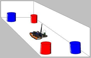 Der Roboter in der Arena. Die kleine Kamera nimmt die Objekte auf und leitet die Informationen per F Quelle: Martin Paul Nawrot (idw)
