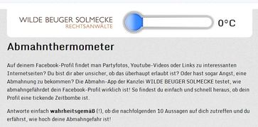 """Screenshot vom """"Abmahnthermometer"""""""