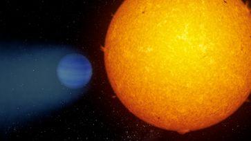 Künstlerische Impression des Exoplaneten WASP-69b vor seinem Zentralstern. Quelle: Foto: Gabriel Perez Diaz (IAC) (idw)