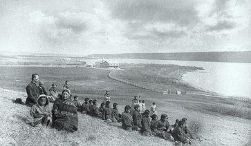 Schüler und Familienangehörige indigener Ureinwohner Kanadas, Mai 1885